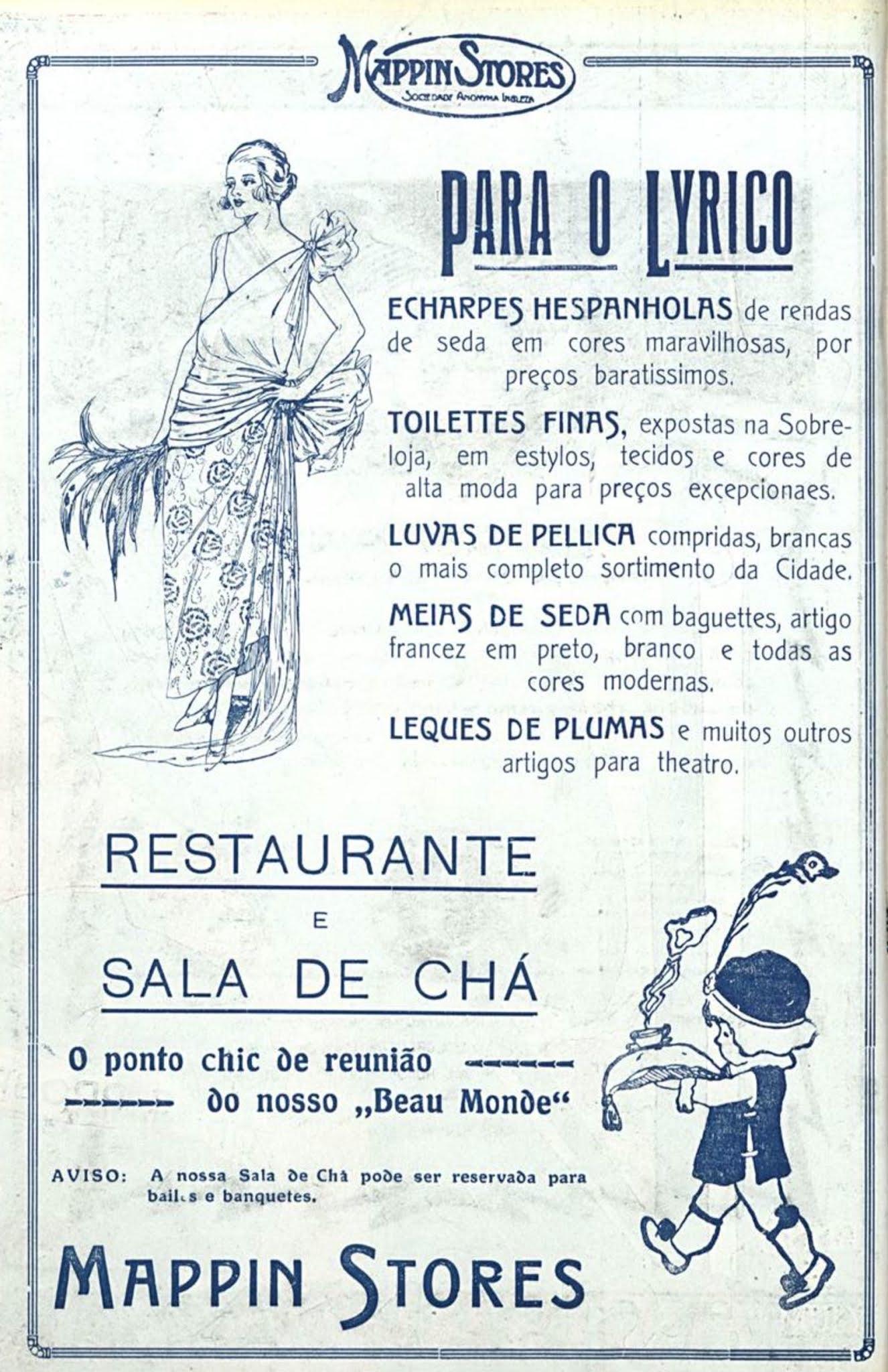 Anúncio antigo do Mappin Stores promovendo sua linha de roupas e serviço de restaurantes