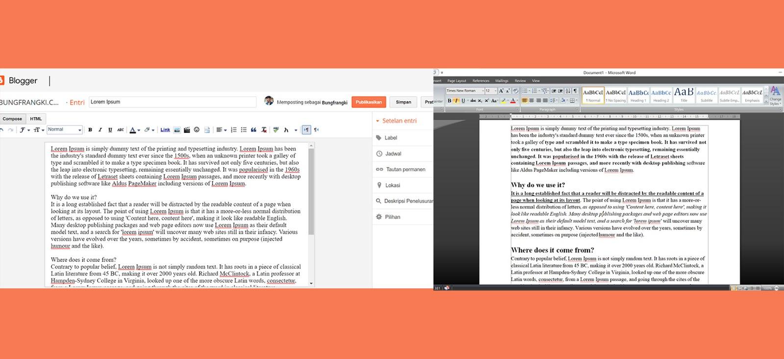 Cara Menyalin Tulisan di MS Word ke Blogger/blogspot yang Benar