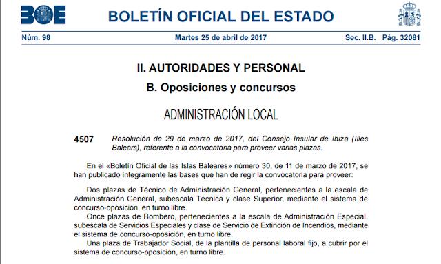 Oferta pública de empleo en el BOE para Ibiza: Bomberos, Trabajador/a social y Técnicos de administración