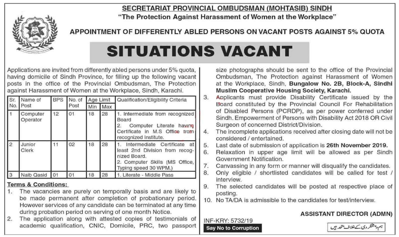 Secretariat Provincial Ombudsman Mohtasib Sindh Clerk Jobs 2019