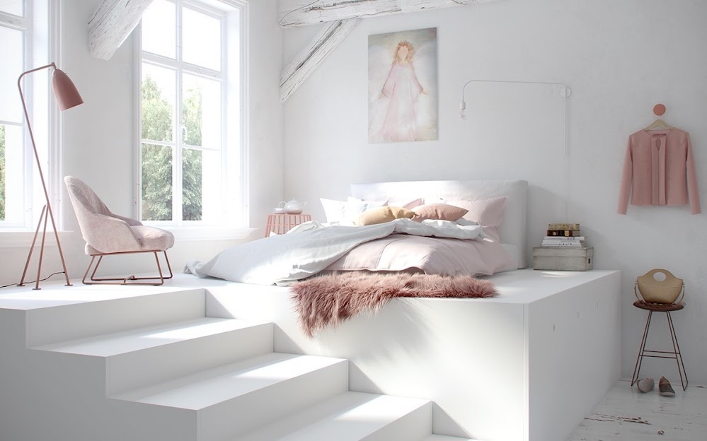 White-bedroom-pink-elements-fluffy-fur-rug-pink-standing-lamp-boudoir-feel