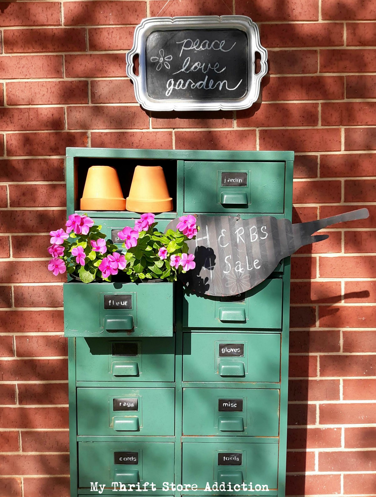 repurposed vintage garden storage