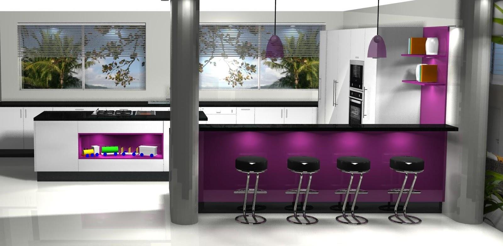 Diseño muebles de cocina: Diseño de cocina con isla y office