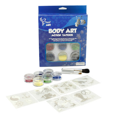 "Picture of ""Body Art Classic Tattoos"" blue-coloured box with contents laid out in front."