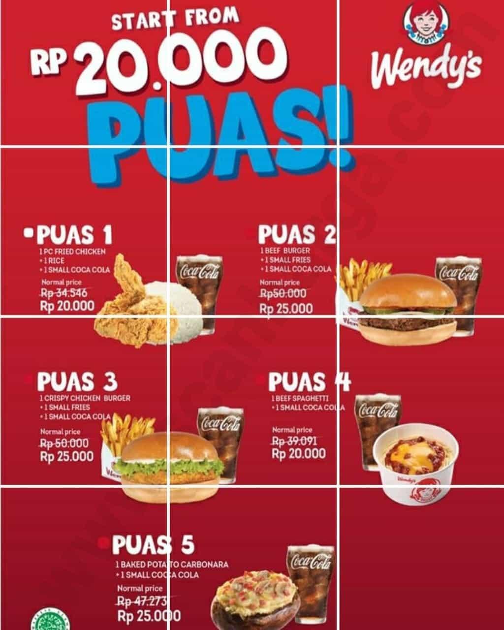 Promo Wendys Paket Puas Cuma 20 000 Edisi Juli 2020 Scanharga Harga Promo Indomaret Alfamart Giant Alfamidi Superindo Lottemart Carrefour