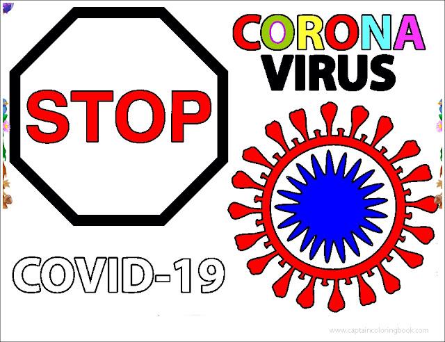 Stop corona Virus covid-19 coloring page