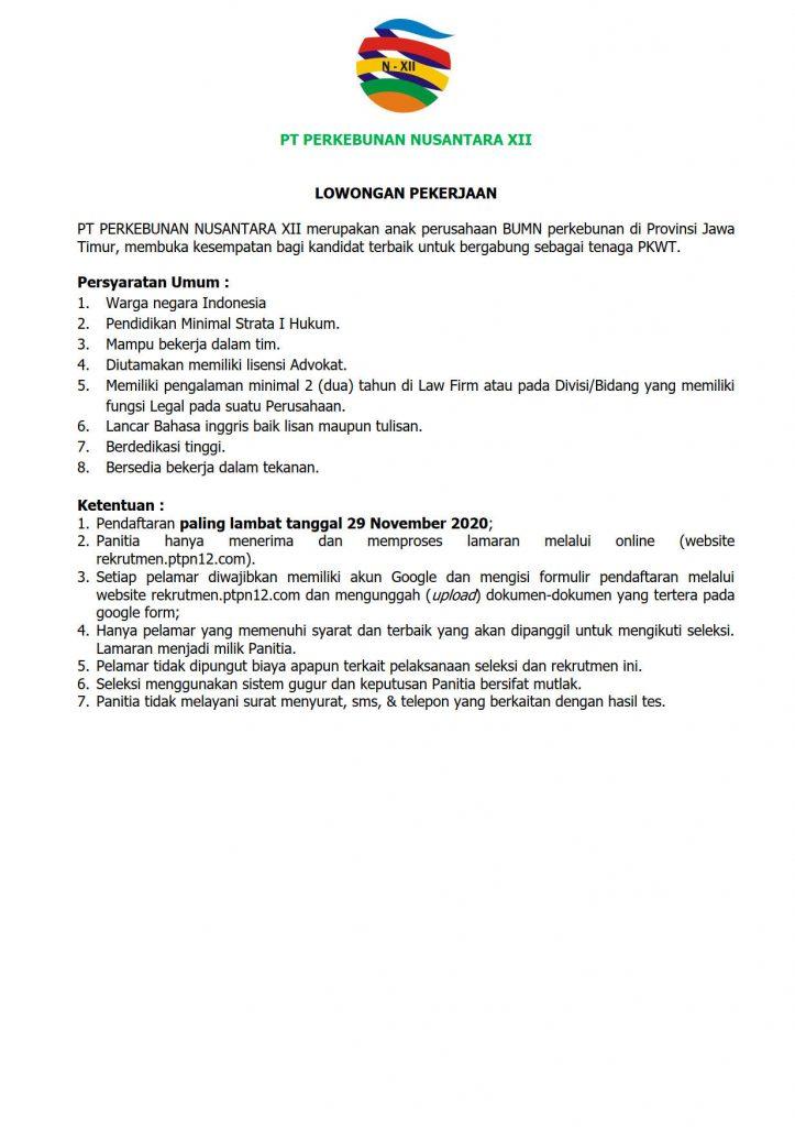 Rekrutmen Lowongan Kerja PKWT PT PN XII November 2020