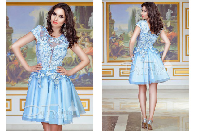 Rochie de lux scurta albastra cu broderie pentru nunta/ocazii