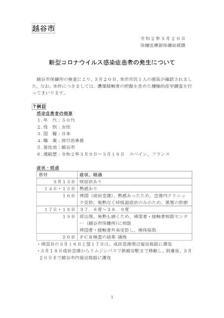 新型コロナウイルス感染症患者の発生について(3月20日発表)