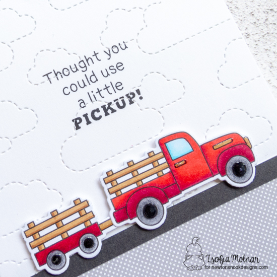 A Little Pickup Card by Zsofia Molnar | Farming Fun Stamp Set by Newton's Nook Designs #newtonsnook #handmade