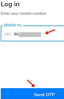 Enter mobile number and click send otp