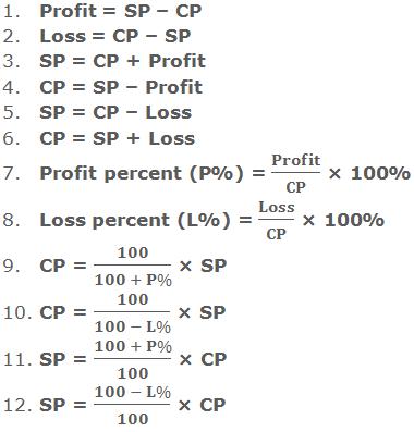 1. Profit = SP – CP  2. Loss = CP – SP  3. SP = CP + Profit 4. CP = SP – Profit 5. SP = CP – Loss 6. CP = SP + Loss 7. Profit percent (P%) = Profit/CP × 100% 8. Loss percent (L%) = Loss/CP × 100%     9. CP = 100/(100 + P%) × SP 10. CP = 100/(100 - L%) × SP 11. SP = (100 + P%)/100 × CP   12. SP = (100 - L%)/100 × CP