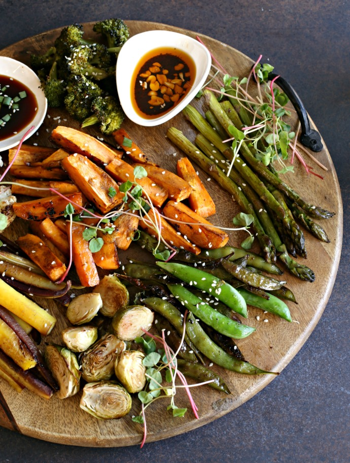 Roasted vegetables glazed with a tamari, honey and mustard sauce.