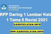 RPP Daring 1 Lembar SD/MI Kelas 1 Tema 6 Revisi 2021