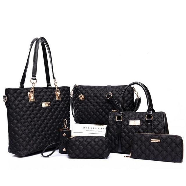 6 Piece: Women's Vintage Diamond Lattice Oxford Handbag Set
