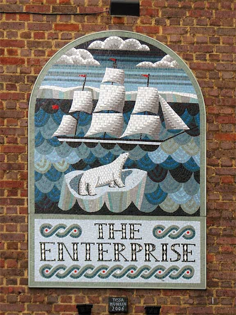 Mosaic for the The Enterprise pub by Tessa Hunkin,Red Lion Street, Holborn, London