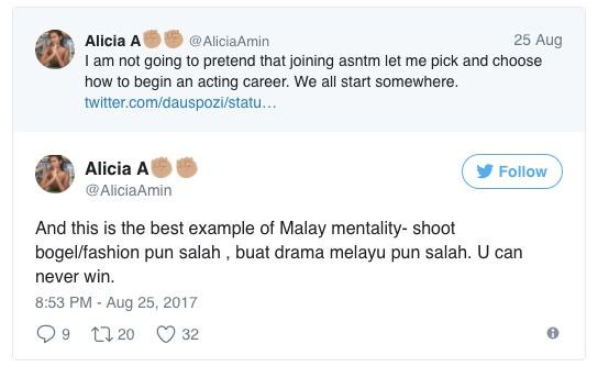 Alicia Amin Label Melayu Mundur