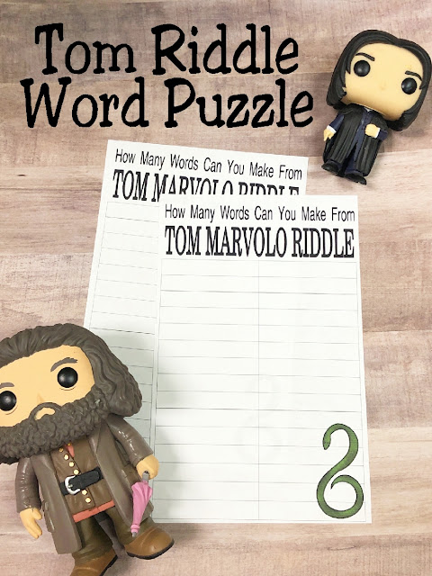 Get your Harry Potter party guests in the mood for fun and challenges with this printable puzzle party game for teens and adults. This game uses the letters in Tom Riddle's name to make up as many words as possible to try and beat Lord Voldemort at his own game.