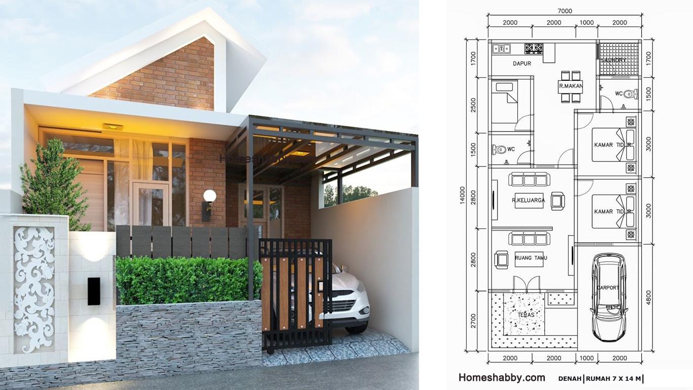 Desain dan Denah Rumah Minimalis Modern dengan Ukuran 12 x 12 M