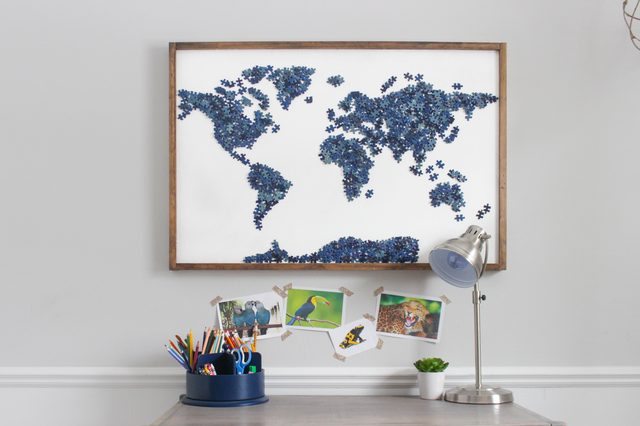 Diy upcycled puzzle map wall art do it yourself ideas and projects instead of throwing puzzles away or donating unused puzzles repurpose them into modern map wall art solutioingenieria Images