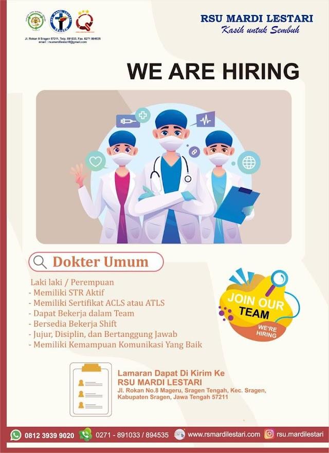 Loker Dokter RSU Mardi Lestari Sragen, Jawa Tengah