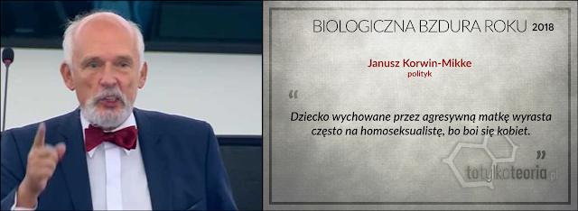 Janusz Korwin Mikke homoseksualizm Biologiczna Bzdura Roku 2018