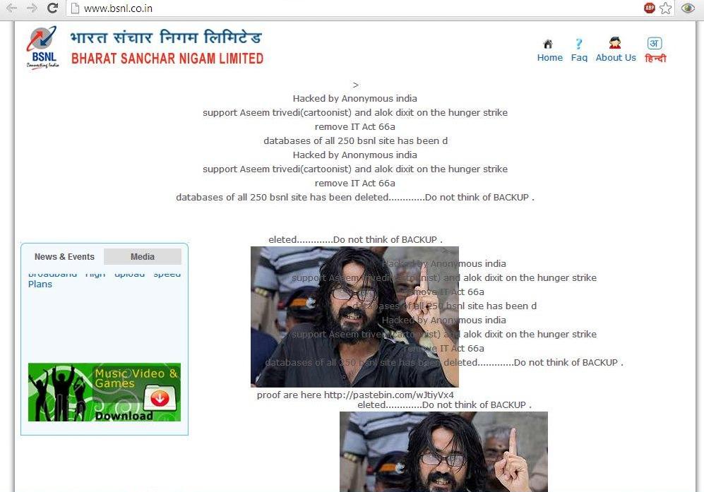hacked BSNL Site.