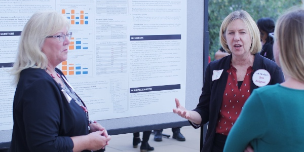 Dr. Lisa McCully and Sandra Kahn present their findings at the 2019 Data Champions poster session.