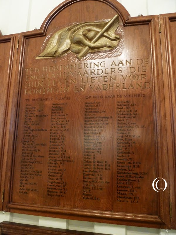 Wooden panels contain 316 names of Engelandvaarders
