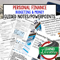 Personal Finance: Budgeting and Money, Credit, Buying a Car, Getting Insurance, Paying for College, Applying for a Job, Getting Your Own Home, Paying and Filing Taxes Guided Notes & PowerPoint