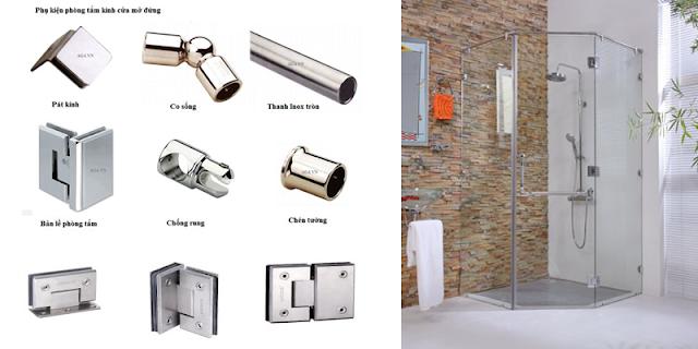 Các phụ kiện cho các kiểu mở quay của phòng tắm đứng