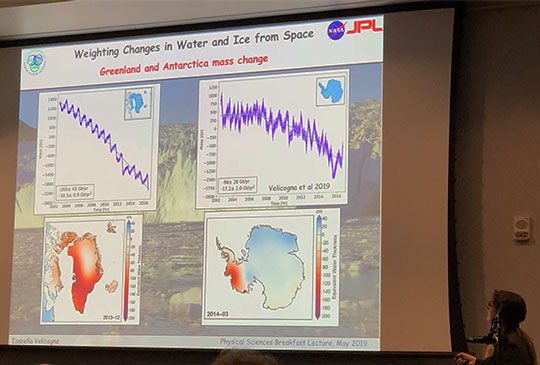 UCI Professor Velicogna explains how GRACE can track weight of ice and glaciers worldwide at breakfast lecture series (Source: Palmia Observatory)