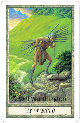 Druidcraft Tarot Ten of Wands Will Worthington blog blogger