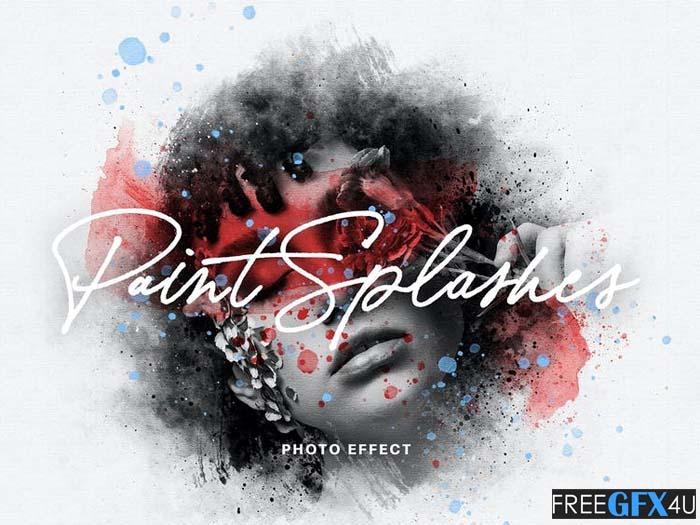 Paint Splashes Photo PSD Effect