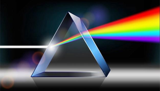 Efek pelangi pada cahaya putih yang melewati prisma
