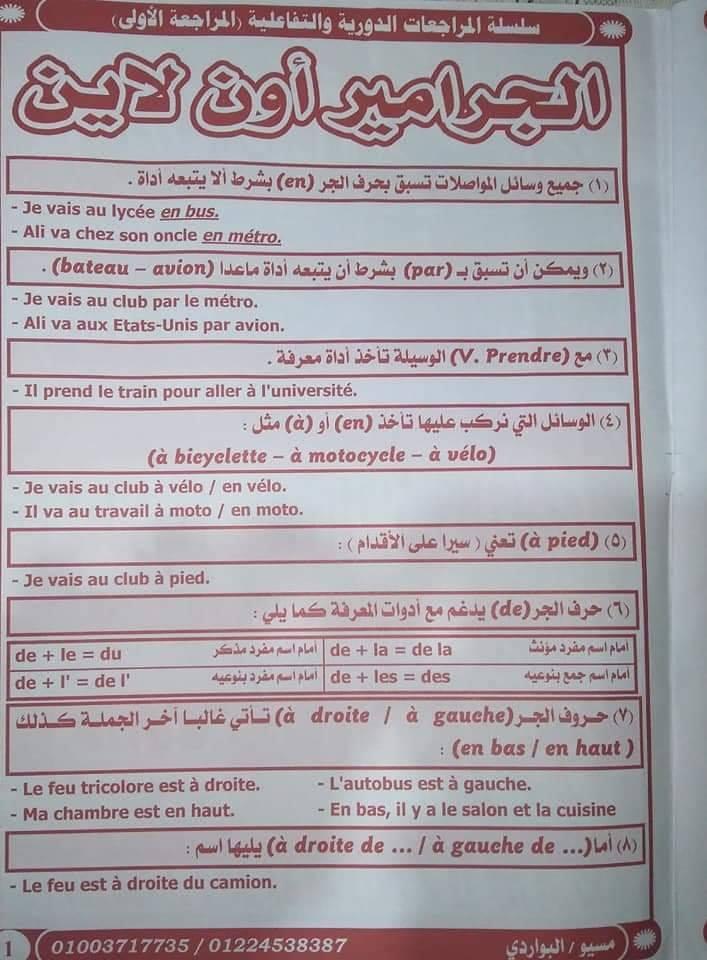 مراجعة لغة فرنسيه للصف الثاني الثانوى الترم الاول 2020 لمسيو البواردي الملخص في 10 صفحات