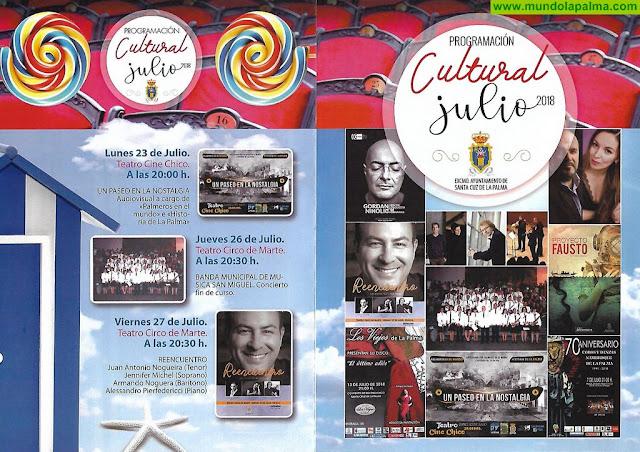 Programación cultural julio 2018 de Santa Cruz de La Palma