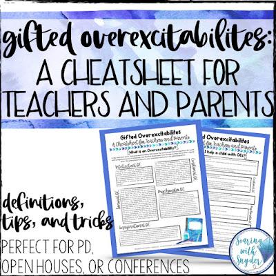 gifted overexcitabilities cheatsheet link