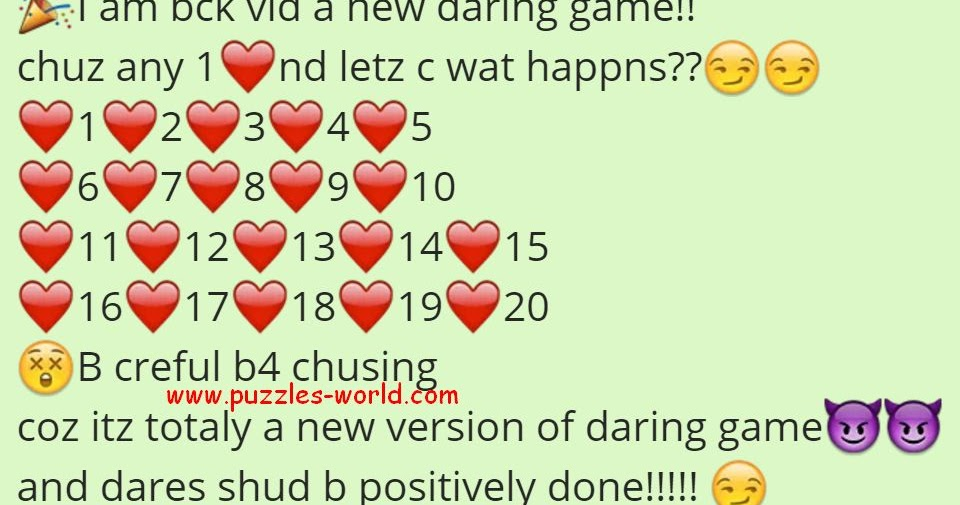 Whatsapp Daring Game Choose Any 1 And Lets See What Happens