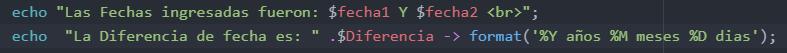 Calcular la diferencia entre dos fechas