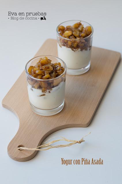 Yogur con piña asada - Eva en pruebas