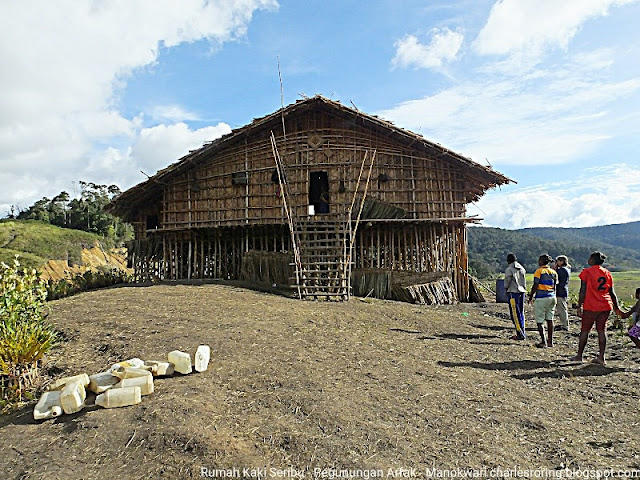 Traditional Wooden house construction from West Papua