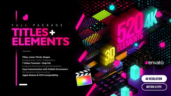 Modern Pack of Titles and Elements[Videohive][FCPX][Apple Motion][4K][28907886]