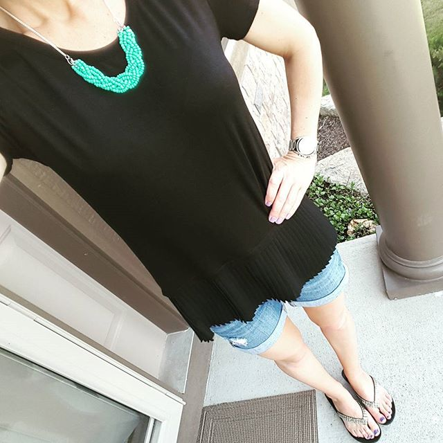 Pebble & Stone Top (similar in a tank top) // Gap Factory Roll Cuff Shorts (similar) // Aldo Flip Flops (similar) // Etsy Necklace // Michael Kors Runway Watch - on sale! (very similar for only $20)