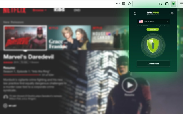 RUSVPN اضافة مجانية لالغاء حظر المواقع على كروم