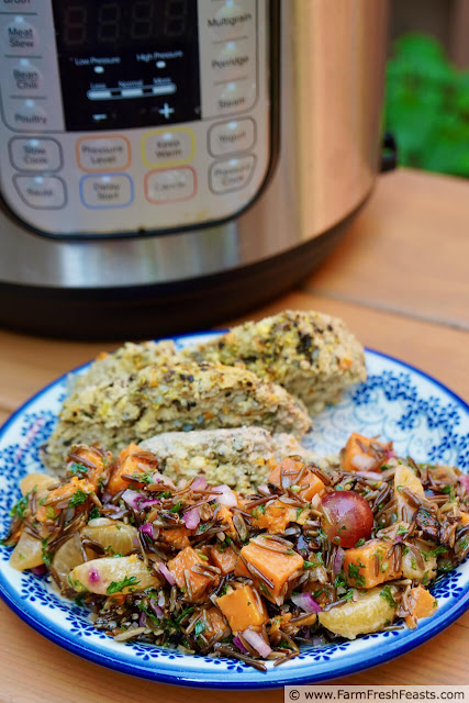 image of an instant pot and a plate of fruited wild rice salad with sweet potato