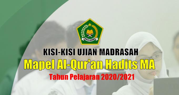 Kisi-Kisi Ujian Madrasah Mapel Al-Qur'an Hadits MA