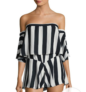 white and black stripes romper long sleeve