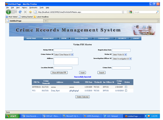 Crime Report Management System - ASP Net Project ~ Online