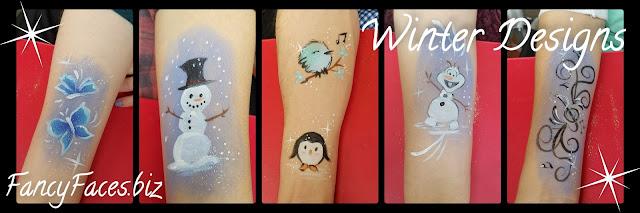 Icy butterflies, snoman, snow bird, penguin, Olaf, treble clef swirls